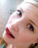 Teen closeup blowjob and facial