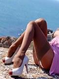 Leggy vintage babe teases in hot sheer nylon stockings