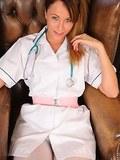Sexy nurse in white opaque pantyhose
