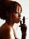 Hot ebony babe smoking