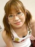 Naughty Japanese coed babe Iruka Sakana in glasses