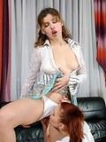 Cute schoolgirls licking their perky nipples before dildoing virgin pussies