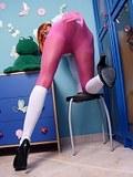 Hot leggy schoolgirl in pink pantyhose