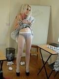 Hot blondie in white fishnets upskiting