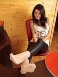Hot girl showing leggins feet in white nylons