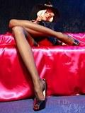 Crazy long MILF legs in exclusive vintage black stockings