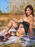Hot brunette milf in black stockings upskirting