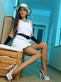 Charming leggy brunette in hot vintage FF stockings