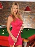 Amazing big tit blonde babe Carol masturbating on pool table