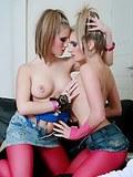 Lesbian sluts in red pantyhose