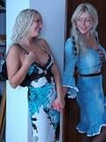 Blond lez girlfriends in black pantyhose put to work their beloved strap-on