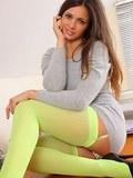 Stunning brunette revealing her silk underwear