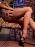 Luxury leggy MILF in sheer nude vintage stockings
