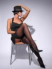 Gangster whore in sheer black FF nylon stockings