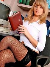 Hot blonde secretary Nastya taking off black panties