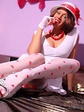 Leggy vintage bitch in sexy white nylon stockings