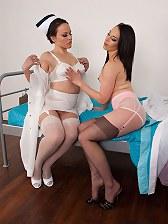 Nurse helps Jessica into her garter belt sheer panties and RHT nylons!