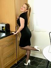 Sexy Sara wearing white high heels and nylon stockings