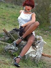 Leggy MLF LilyWOW in vintage sheer stockings outdoor