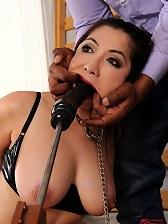 Sexy bound babe Midori Tanaka's pussy and ass double fucked