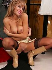 Busty Bonny's panty striptease