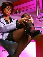 Leggy secretary MILF in sexy black stockings