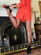 stewardess posing and upskirt