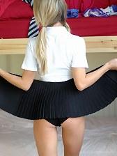Blonde hottie upskirting in sexy uniform