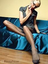 Smoking hot long legs in exciting black pantyhose