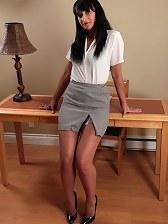Secretary stocking striptease
