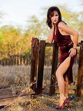 Elegant latin mature posing outdoor