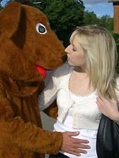 Blonde British teen rammed anal by a big horny teddybear