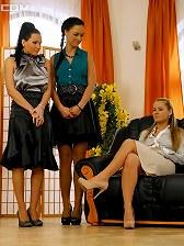 Cute stockings chicks pleasuring each others moist muff